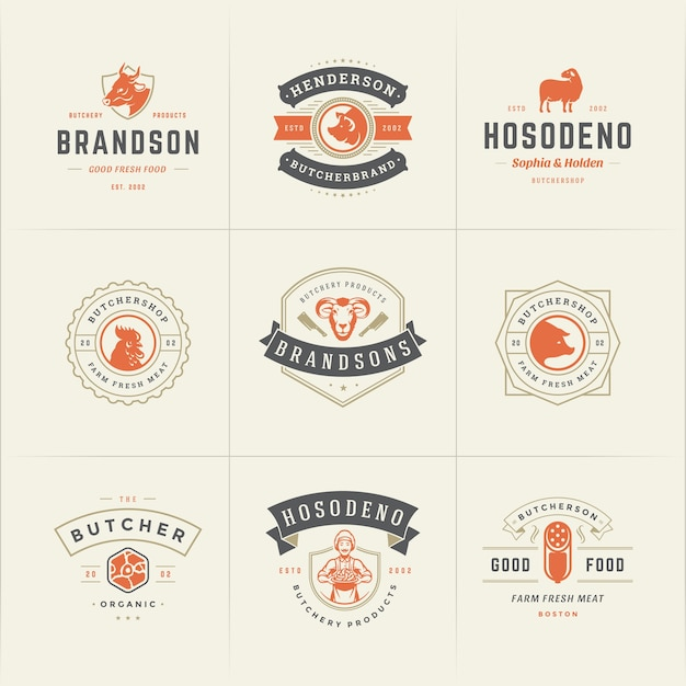 I loghi della macelleria hanno messo l'illustrazione di vettore buona per i distintivi della fattoria o del ristorante con gli animali e le siluette della carne Vettore Premium