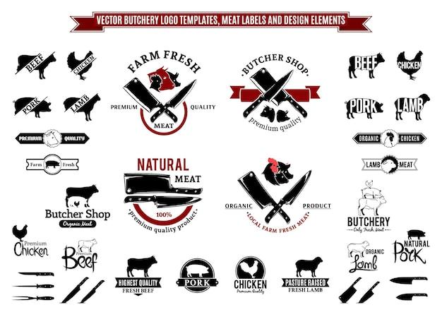 Modelli di logo di macelleria, etichette, icone ed elementi di design Vettore Premium