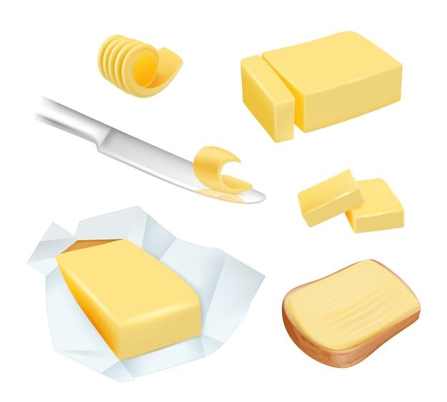 Burro. la margarina del prodotto calorico o il burro di latte blocca le immagini degli alimenti per la colazione a base di latte Vettore Premium