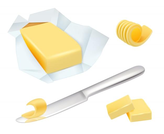 Burro. burro al latte per la colazione a base di margarina per cucinare la raccolta di immagini realistiche di alimenti Vettore Premium