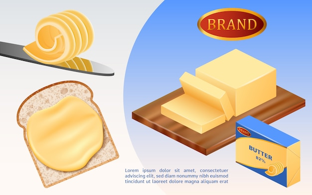 Concetto di latte burro Vettore Premium