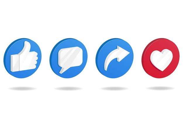 Icona del pulsante sui social media. pollice in alto e icona del cuore con icone di ripubblicazione e commento. Vettore Premium