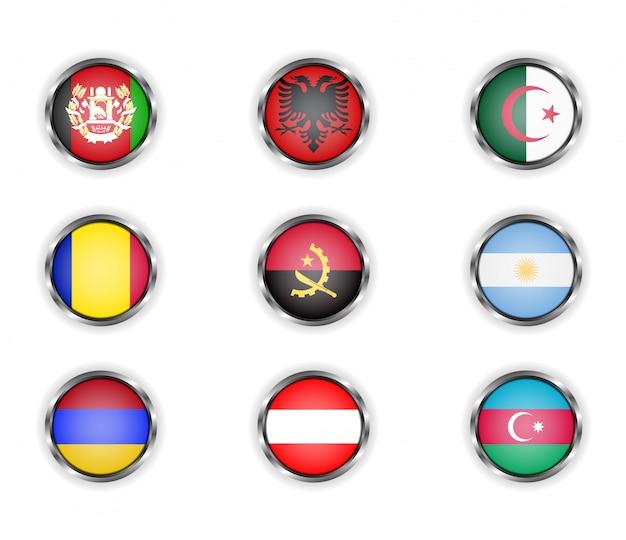 Bottoni con la cornice metallica delle bandiere di paesi. Vettore Premium