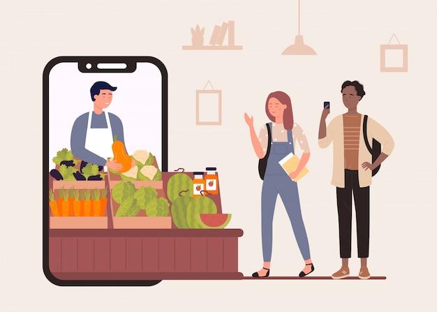 Acquista cibo nell'illustrazione online del negozio del mercato agricolo, personaggi felici dei cartoni animati che acquistano frutta e verdura biologica nel fondo del negozio degli agricoltori Vettore Premium
