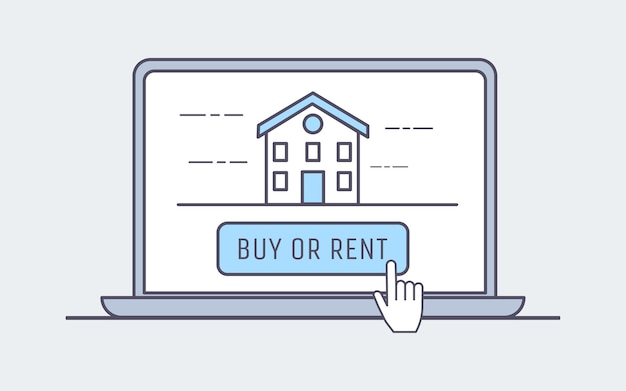 Acquista o affitta casa nell'illustrazione di internet Vettore Premium