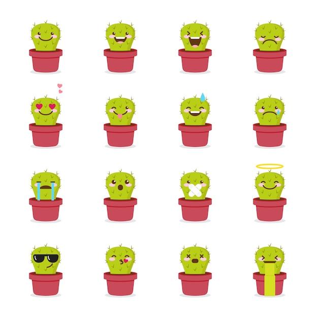 Set di icone di cactus emoji Vettore Premium