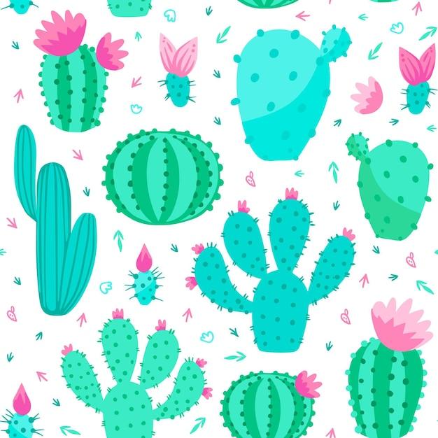 Concetto di modello di cactus Vettore Premium