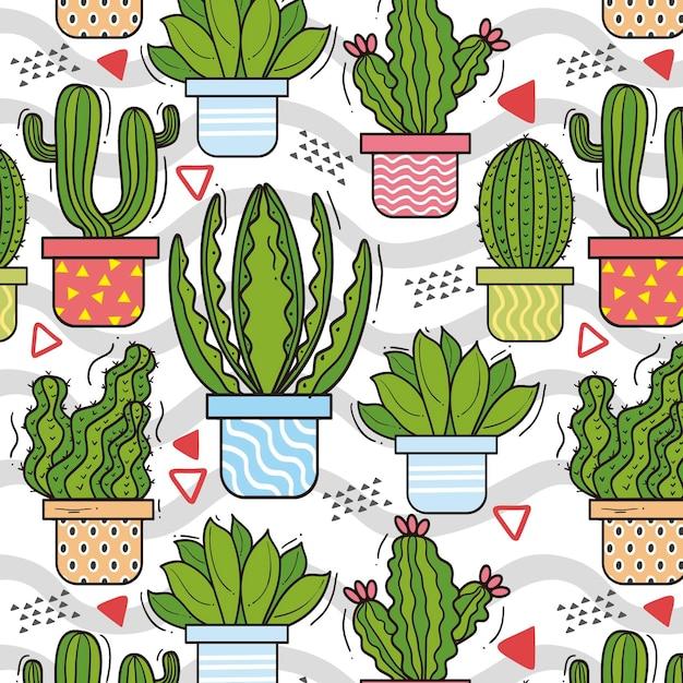 Cactus pattern scenografia Vettore Premium