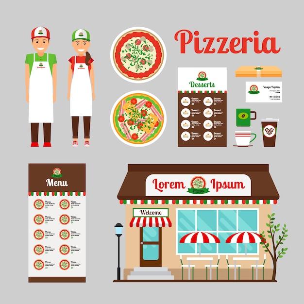 Design frontale cafe Vettore Premium