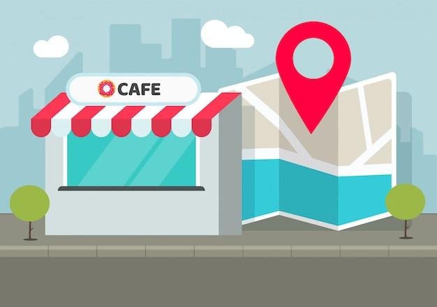 Negozio del caffè di posizione del deposito con il puntatore del perno e l'illustrazione piana del fumetto della mappa della città di navigazione Vettore Premium