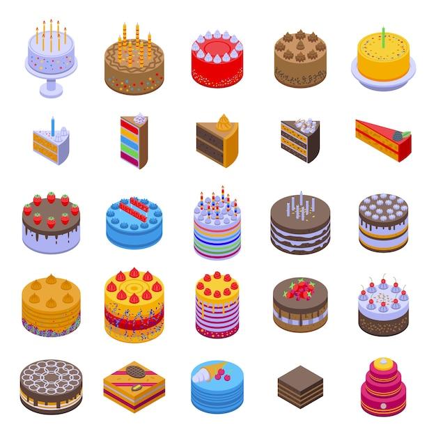 Set di icone di torta. Vettore Premium