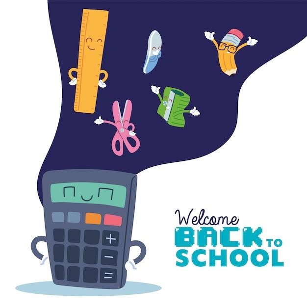 Calcolatrice e set di icone per cartoni animati, lezione di educazione alla scuola Vettore Premium