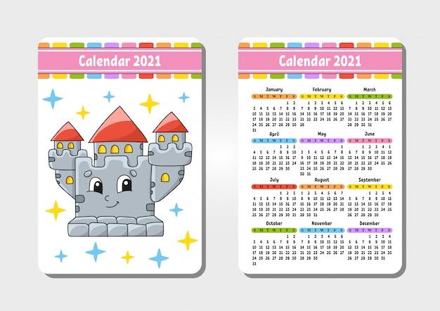 Calendario per il 2021 con un personaggio carino. castello reale