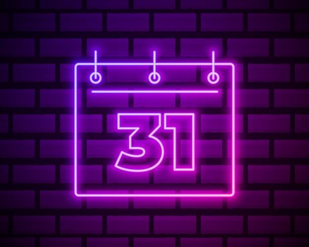 Calendario con 31 data, icona semplice. stile neon. decorazione leggera Vettore Premium