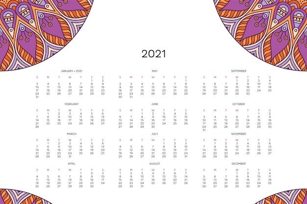 Calendario con mandala. Vettore Premium