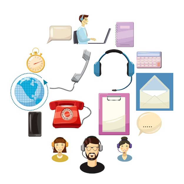 Set di icone di call center, stile cartoon Vettore Premium