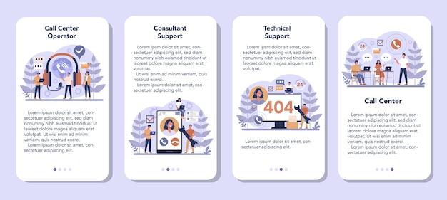 Call center o supporto tecnico set di banner per applicazioni mobili. idea del servizio clienti. supportare i clienti e aiutarli con i problemi. fornire ai clienti informazioni preziose. Vettore Premium