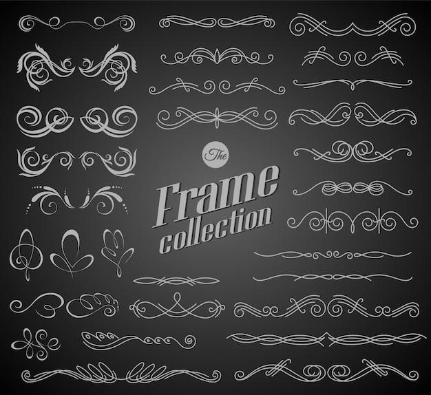 Elementi calligrafici di disegno sul disegno del fondo della lavagna Vettore Premium