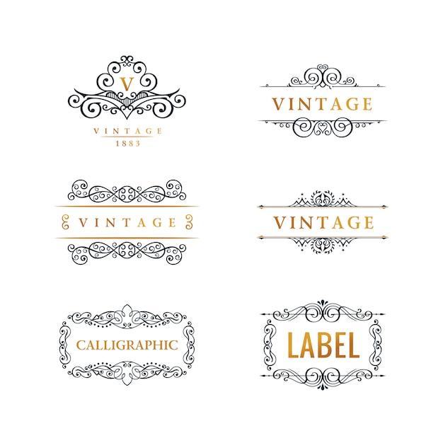 Set logo calligrafico linea di lusso Vettore Premium