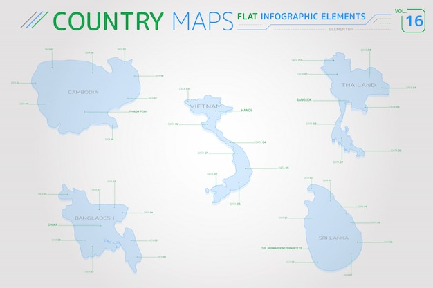 Mappe vettoriali di cambogia, thailandia, vietnam, bangladesh e sri lanka Vettore Premium