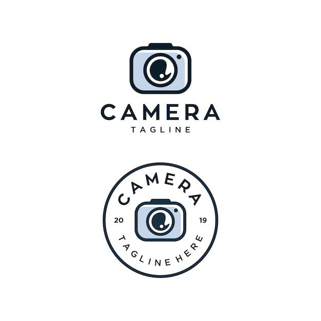 Modello di progettazione di logo di vettore di fotocamera Vettore Premium
