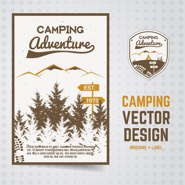 Campeggio avventura volantino con illustrazione della foresta. parco nazionale Vettore Premium
