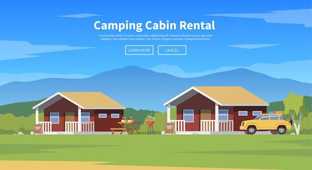 Illustrazione di cabine da campeggio Vettore Premium