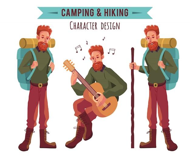 Collezione di personaggi di campeggio Vettore Premium