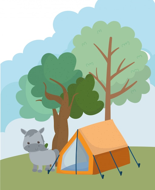 Campeggio carino asino tenda alberi erba natura cartoon Vettore Premium