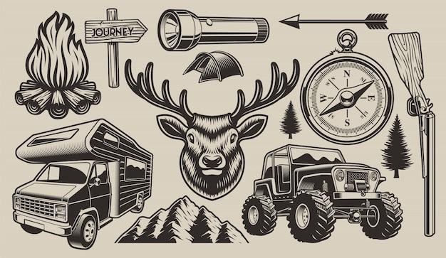 Elementi di design da campeggio Vettore Premium