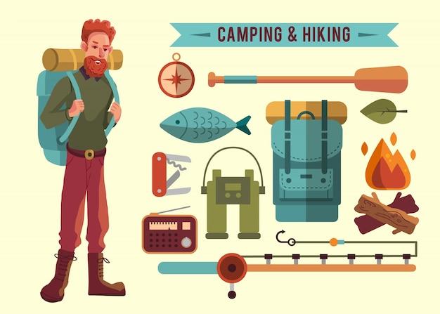 Collezione di elementi da campeggio Vettore Premium