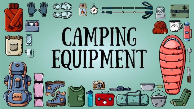 Banner di attrezzature da campeggio con set di articoli turistici Vettore Premium
