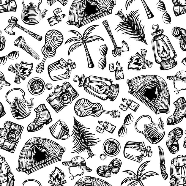 Modelli senza cuciture dell'attrezzatura da campeggio. doodles design su sfondo bianco. Vettore Premium