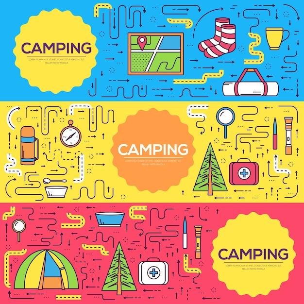 Attrezzatura da campeggio imposta modello infografica cerchio. icone per le applicazioni mobili del prodotto. Vettore Premium