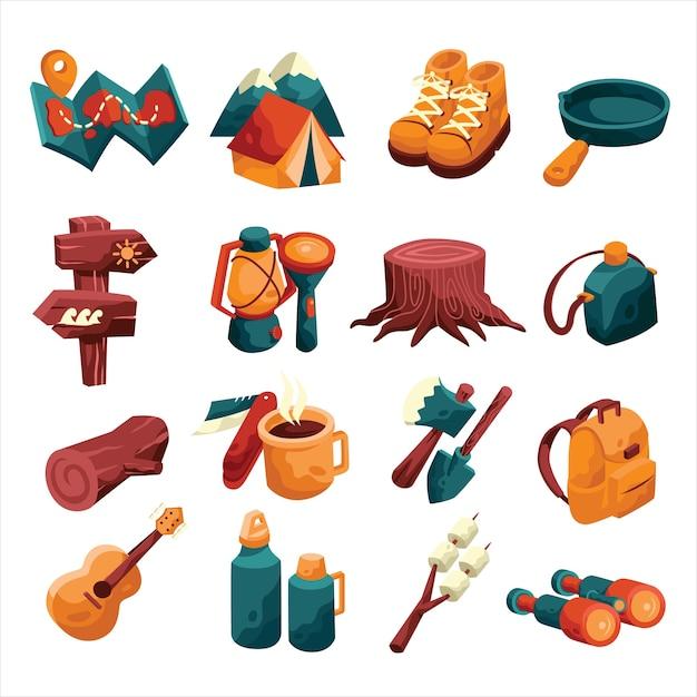 Elemento dell'icona di campeggio impostato con stile colorato e cartone animato Vettore Premium
