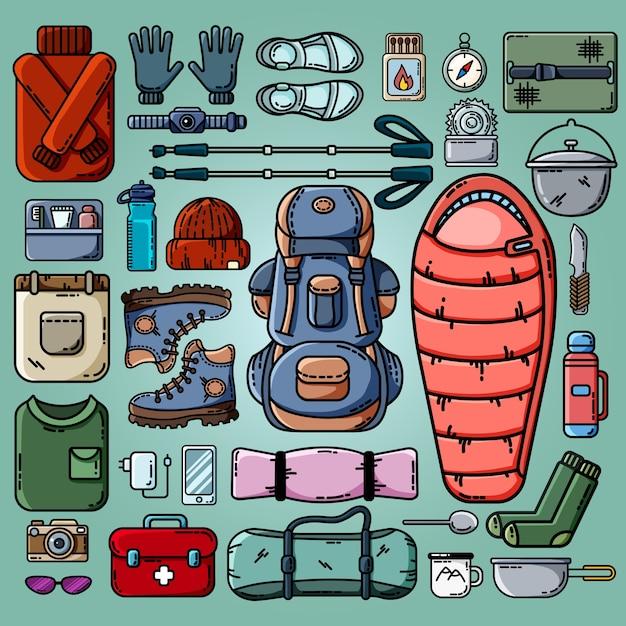 Set di icone di campeggio Vettore Premium