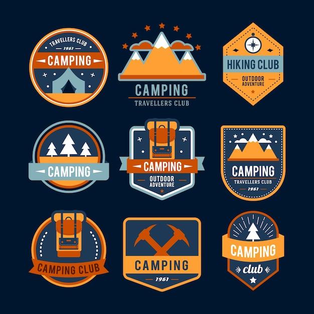 Collezione logo campeggio Vettore Premium
