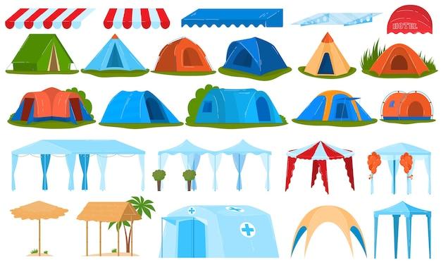 Tende da campeggio, baldacchino, set di tende da sole di illustrazioni isolate. Vettore Premium