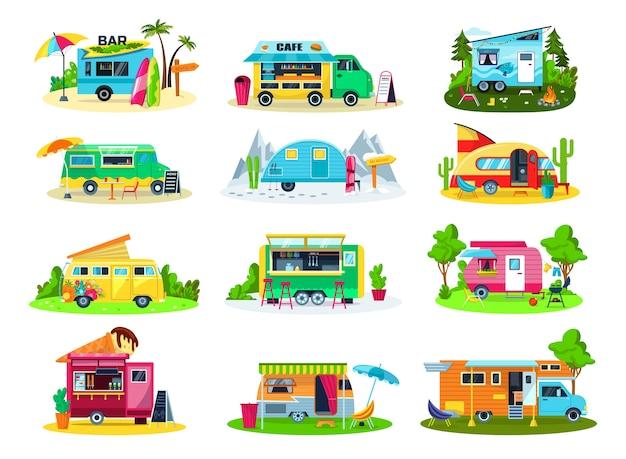 Set di icone di veicoli da campeggio delle illustrazioni Vettore Premium