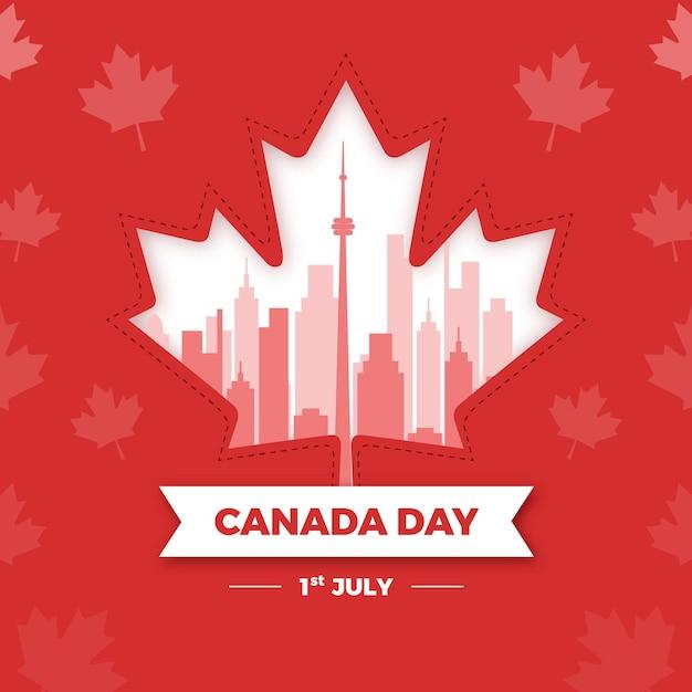 Giorno del canada con foglia d'acero nazionale Vettore Premium
