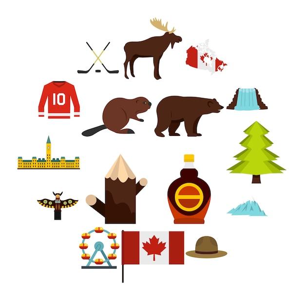 Icone di viaggio del canada messe nello stile piano Vettore Premium