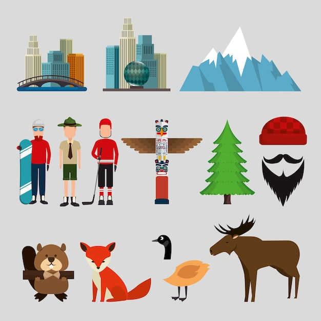 Progettazione stabilita dell'illustrazione di vettore delle icone della cultura canadese Vettore Premium