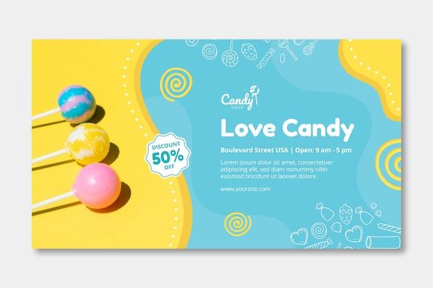Modello di banner di caramelle Vettore Premium