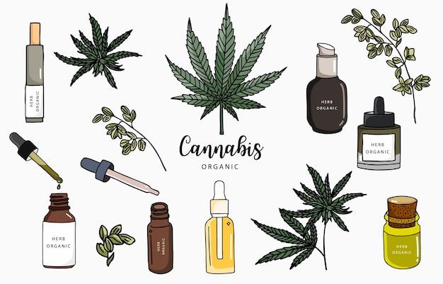 Collezione di cannabis con bottiglia, olio, prodotto. Vettore Premium