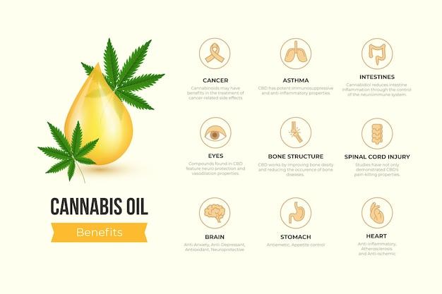 Infografica sui benefici dell'olio di cannabis Vettore Premium