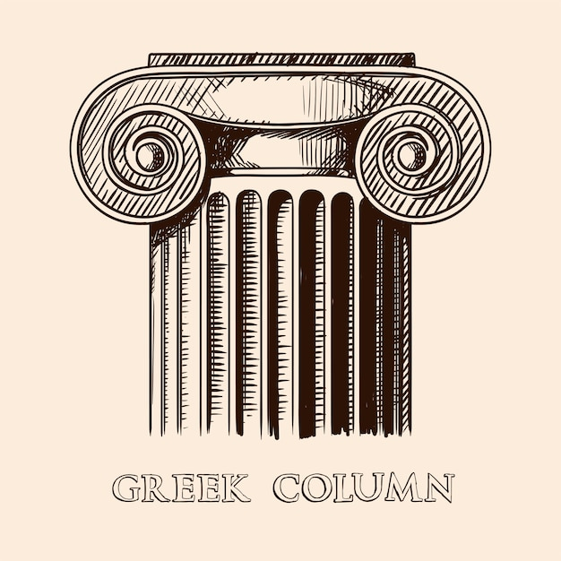 La capitale di un'antica colonna greca. schizzo di disegno a mano isolato su sfondo beige. Vettore Premium