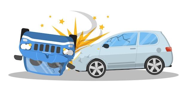 Incidente d'auto. automobile rotta sulla strada, situazione di emergenza. auto danneggiata. illustrazione Vettore Premium