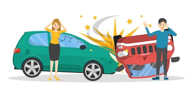 Incidente d'auto. automobile rotta sulla strada, situazione di emergenza. persone in preda al panico guardando l'auto rotta. illustrazione Vettore Premium