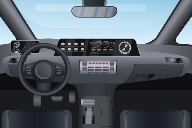 Illustrazione interna del salone auto auto. Vettore Premium