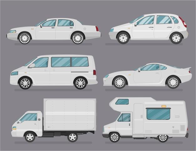 Macchina . set di automobili. stile piatto. vista laterale, profilo. tipi di auto Vettore Premium